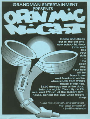 oldschool flyers -Open Mic Night