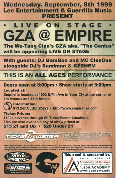 oldschool flyers -GZA